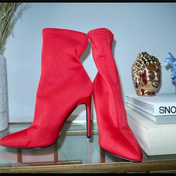 "b357dc6bb Steve Madden Red ""Lovely"" fabric bootie. M 5c3a52423e0caa64165dd9ca"